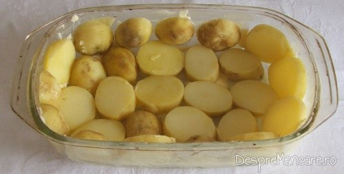 Vas de copt uns cu unt proaspat, cu un strat din felii de cartofi fierti asezati pe fundul si pe lateralele vasului, pentru cartofi noi, gratinati.