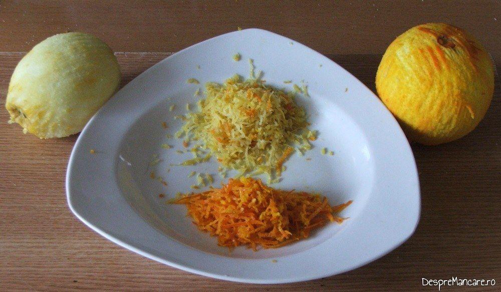 Coaja rasa de lamaie si portocala, folosita pentru aromatizarea preparatului.