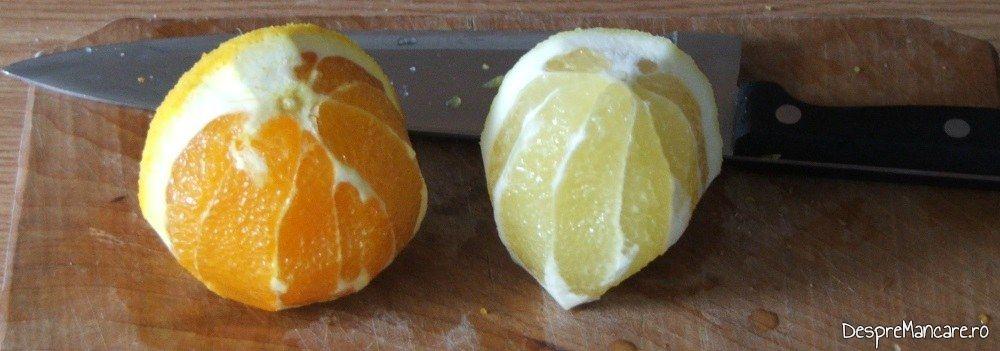 Curatare lamai si portocale de coaja alba, amara.