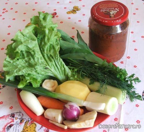 Ingrediente pentru supa crema de legume si ciuperci.