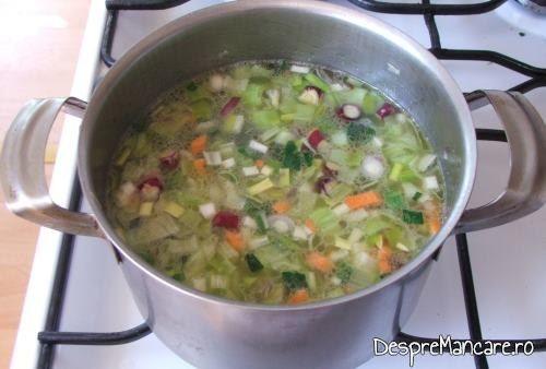 Supa crema de legume si ciuperci in pregatire/ fierbere.