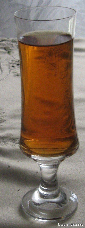 Vinul casei din smochine servit la piept de pasare cu garnitura din mancare de dovlecei.
