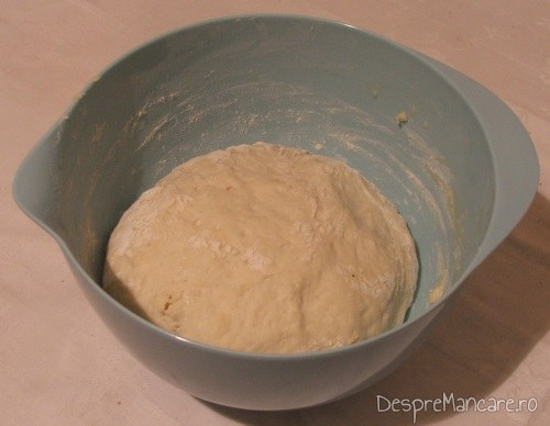 Aluat gata pregatit pentru paine umpluta cu porcarele si branza de oaie.