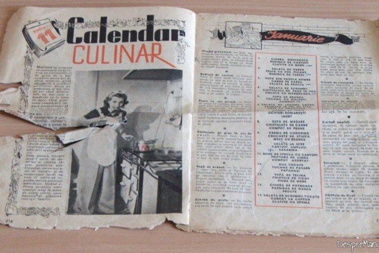 Calendar culinar de pe la 1936-1938.
