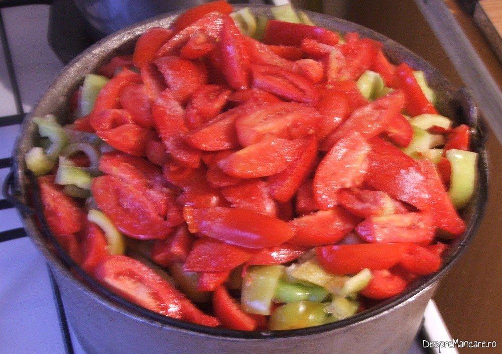 Legume taiate mare pentru amestec de rosii si ardei gras, capia, gogosari pentru iarna.