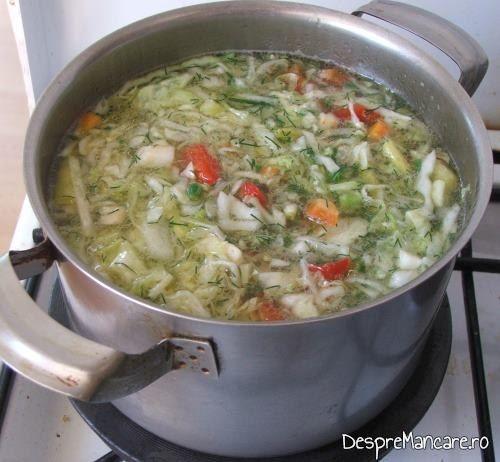 Legumele din ciorba de legume, de vara, puse la fiert.