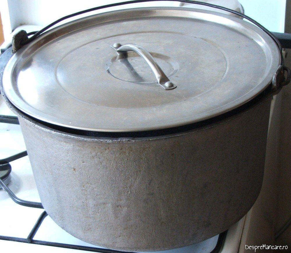 Vasul de sterilizare borcane cu gogosari in otet, acoperit cu capac.