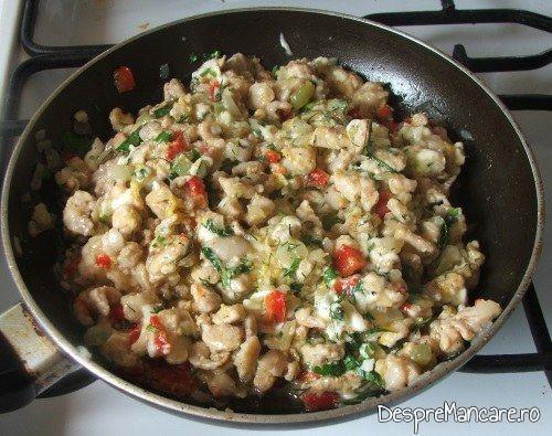 Umplutura cu carne tocata de curcan pentru cannelloni este gata pregatita.