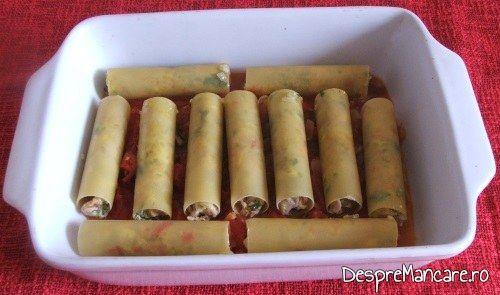Cannelloni umplute cu carne tocata de curcan asezate in vasul de copt.