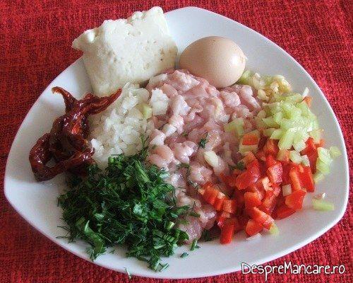 Ingrediente gata pregatite pentru paste caneloni umplute cu carne tocata de curcan.