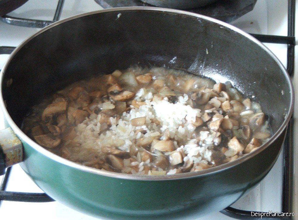 Pregatire umplutura de ceapa, usturoi, ciuperci, orez, pentru cannelloni umplute cu ciuperci in sos de rosii.