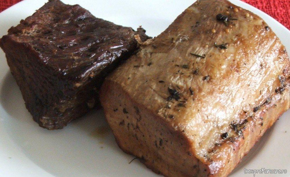 Muschi de porc si spata de vitel la cuptor - preparatul este gata pentru feliere.