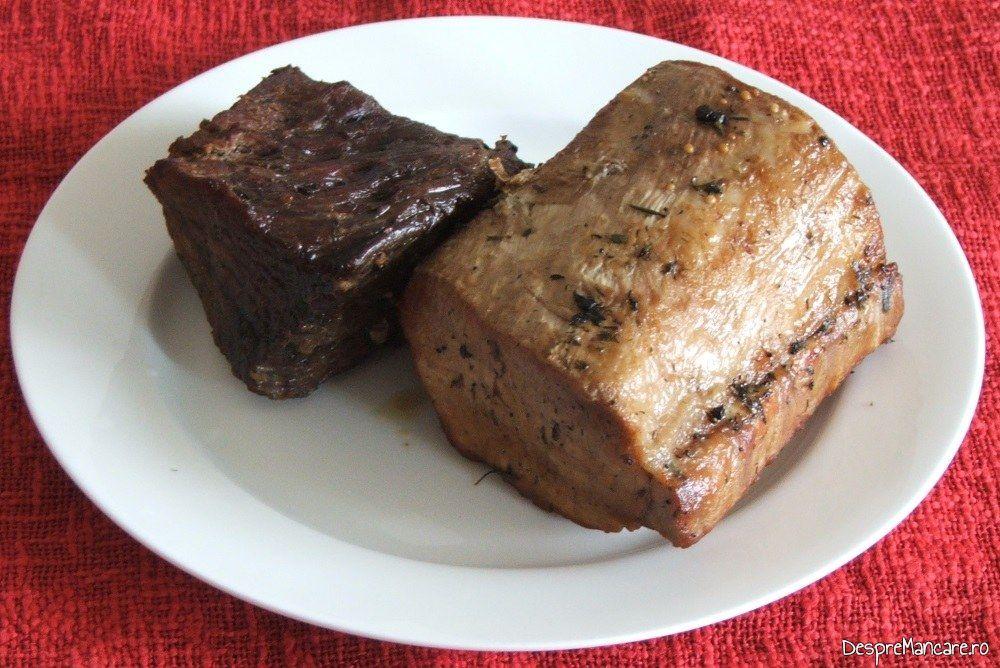 Muschi de porc si spata de vitel la cuptor, bucati pregatite pentru feliere.