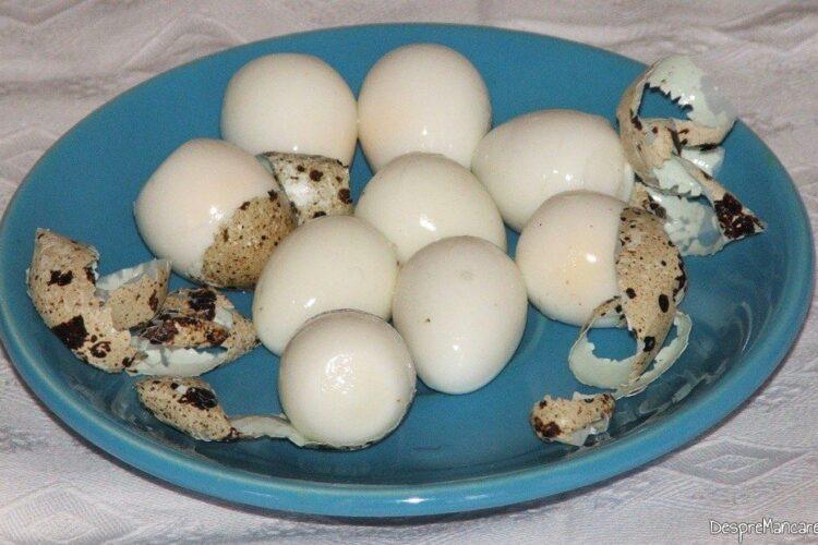 Oua de prepelita fierte si decojite, cu fasii lungi de coaja de ou.