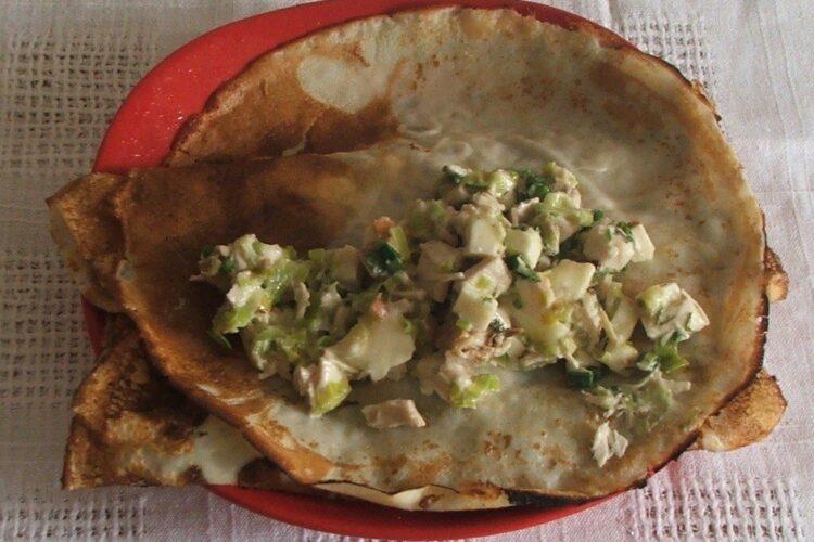 Umplere foi de clatite pentru pane'-uri din clatite umplute cu carne si cas afumat.