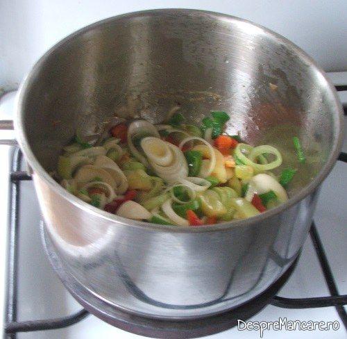Calire rondele de praz si ceapa, felii de ardei gras in untura de pasare pentru mancare de prune si praz cu pulpe de gaina.