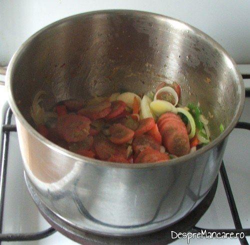 Calire rosii decojite si taiate felii pentru mancare de prune si praz cu pulpe de gaina.