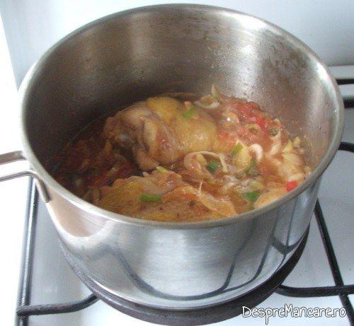 Fierbere pulpe de gaina rumenite in sos de legume pentru mancare de prune si praz cu pulpe de gaina.
