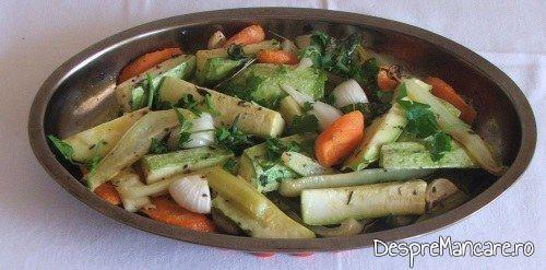 Legume gata coapte pentru platica cu legume, la cuptor, altfel.