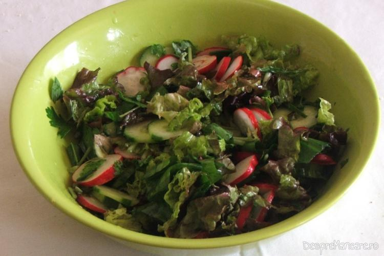 Salata asortata de sezon, pentru piept de rata cu urzici batute.