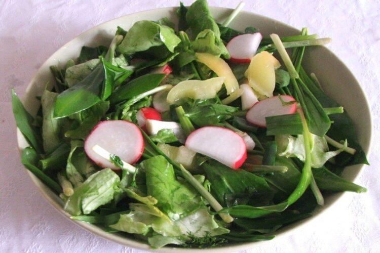 Salata de leurda cu ridichi de luna servita la oua vopsite pentru sarbatoarea pascala.