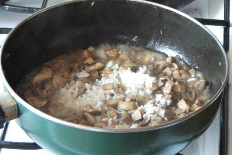 Calire orez impreuna cu ciuperci si ceapa la umplutura pentru cannelloni.