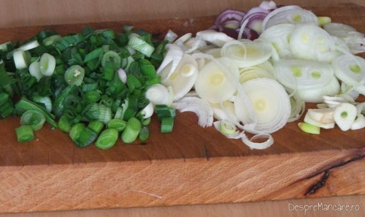 Tocare ceapa, usturoi, praza pentru paste Panzerotti umplute cu crab plus creveti in sos de praz, ciuperci si smantana.