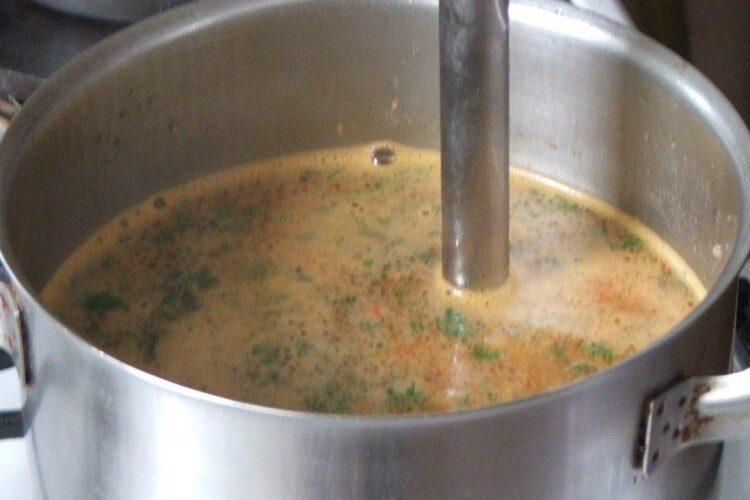 Mixare amestec pentru supa crema de gaina cu ciuperci si oua de prepelita.