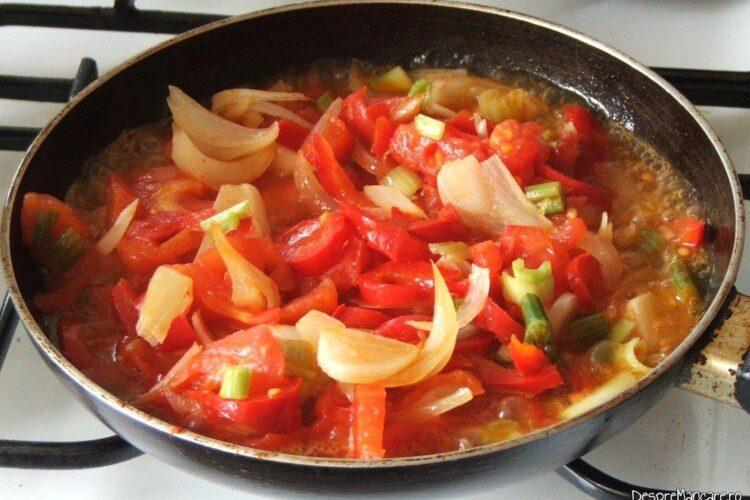Calire legume in ulei de masline pentru mancare de conopida.