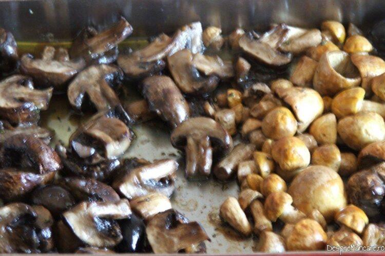 Ciuperci cu masline la cuptor gata pregatite.