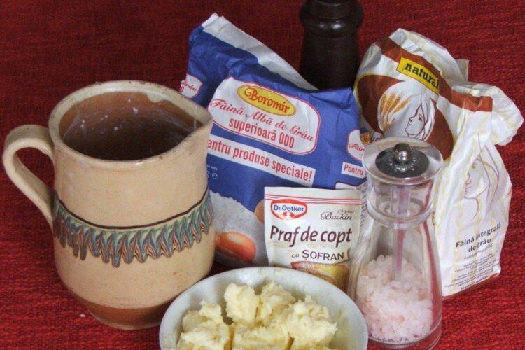 Ingrediente pentru paine de casa cu iaurt si praf de copt.