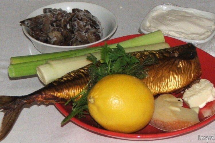 Ingrediente pentru paste (scoici) conchiglioni giganti cu praz, ciuperci si macrou afumat.