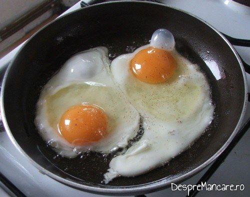 Prajire oua de gaina in cateva picaturi de ulei din floarea soarelui.