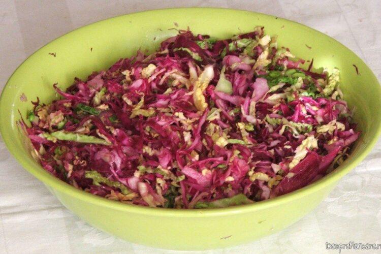 Salata rapida din varza rosie si varza alba, salata verde, sare, ulei, otet de visine.