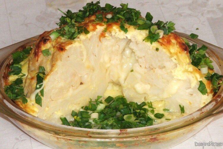 Conopida impanata cu mozarella, acoperita cu iaurt, la cuptor - preparat feliat dupa reintarirea lactatelor.