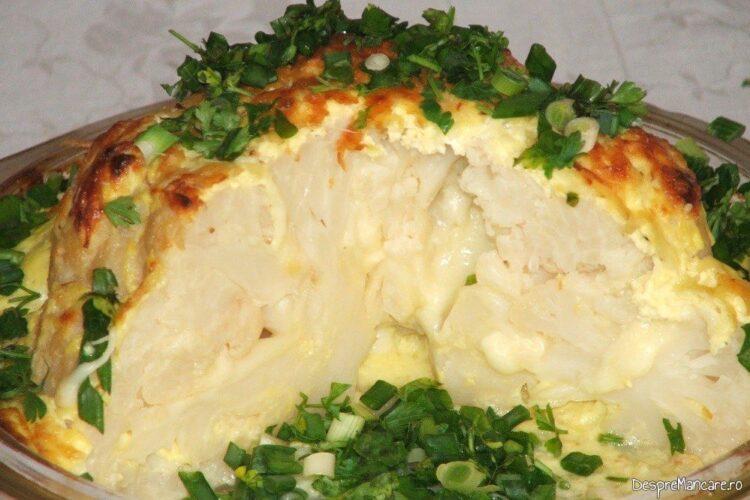 Conopida impanata cu mozarella, acoperita cu iaurt, la cuptor.