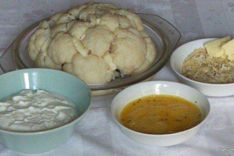 Ingrediente pregatite pentru impanarea capatanii de conopida.
