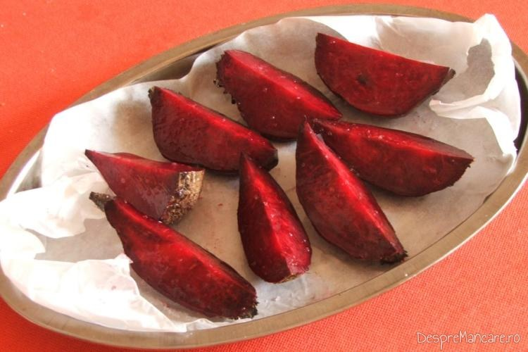 Pregatire sfecla rosie pentru coacere.