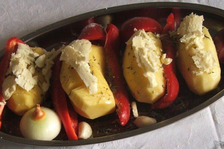 Legume folosite ca garnitura la trunchi de platica cu cartofi zimtati la cuptor.