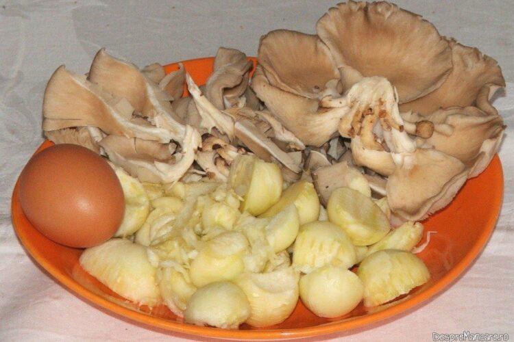 Ingrediente folosite la dovlecei umpluti cu praz si ciuperci.