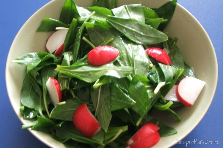 Salata de leurda cu ridichi de luna servita la mancare de praz cu prune uscate si aripi de curcan.