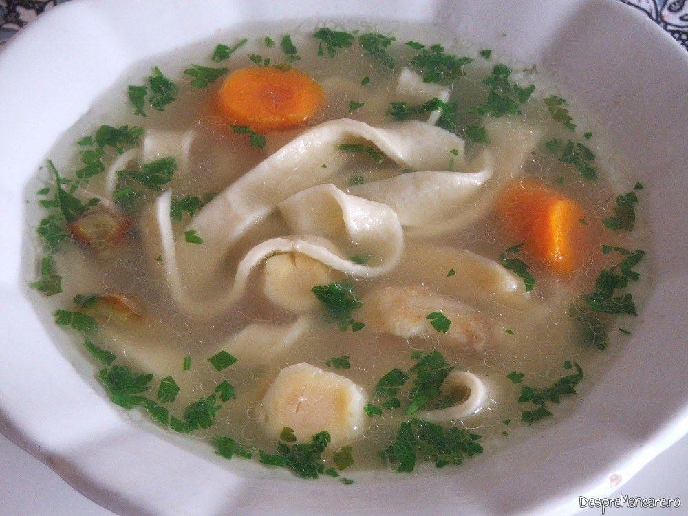 Supa de curcan cu taietei de casa.