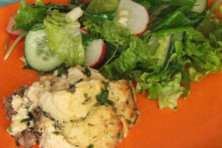 Conopida impanata cu carne tocata si apoi gratinata.