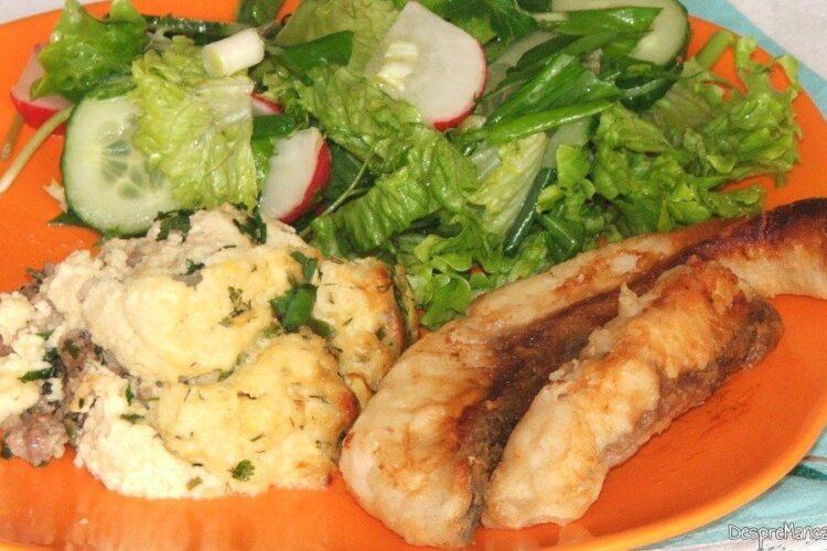 Conopida impanata cu carne tocata si apoi gratinata - servita ca garnitura la file'-uri de peste prajit.