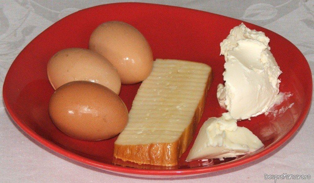 Ingrediente de trebuinta pentru galbiori gratinati cu smantana.