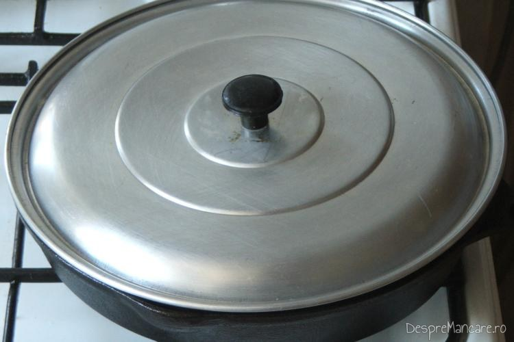 Preparatul se fierbe inabusit in vin negru cu condimente si radacinoase.