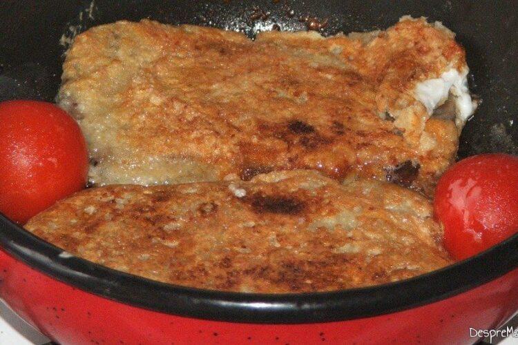 Prajire pane'-uri din limba de vaca/ vitel si rosii mici in grasimea de la prosciuto crudo.