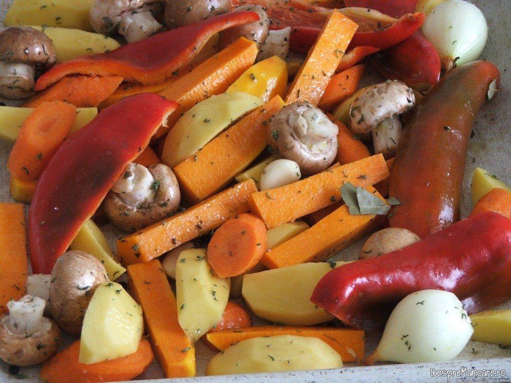Legume si ciuperci asezonate si amestecate cu ulei de rapita, sare grunjoasa, piper boabe proaspat macinat si cimbru uscat.