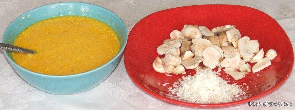Ingrediente de trebuinta pentru creier de porc cu ciuperci si sparanghel la cuptor.
