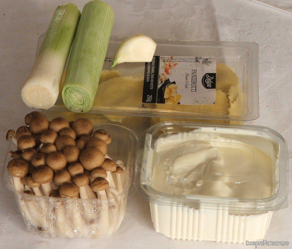 Ingrediente de trebuinta pentru paste panzerotti umplute cu crab in sos de praz, ciuperci si smantana.